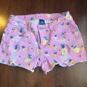 Arizona Pink Denim Pineapple Shorts size 1